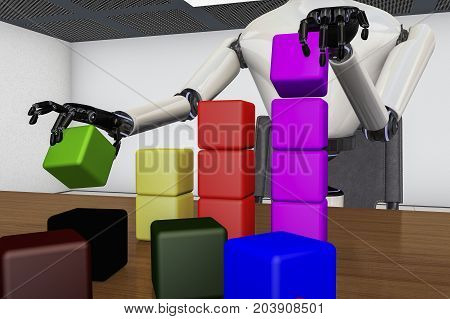 A robot stacks colorful blocks (3d rendering)