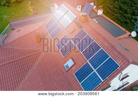 Aerial View Of Photovoltaic Solar Panels
