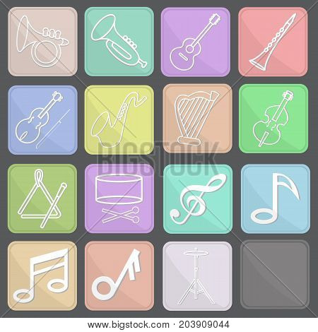 vector set of music icons in flat style