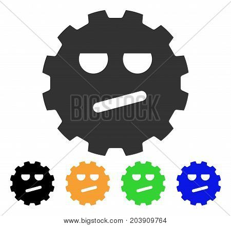 Angry Smiley Gear icon. Vector illustration style is a flat iconic angry smiley gear symbol with black, grey, green, blue, yellow color versions. Designed for web and software interfaces.