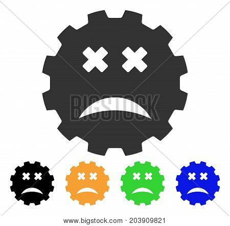 Blind Smiley Gear icon. Vector illustration style is a flat iconic blind smiley gear symbol with black, grey, green, blue, yellow color variants. Designed for web and software interfaces.