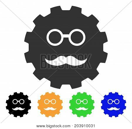 Grandfather Smiley Gear icon. Vector illustration style is a flat iconic grandfather smiley gear symbol with black, grey, green, blue, yellow color versions. Designed for web and software interfaces.
