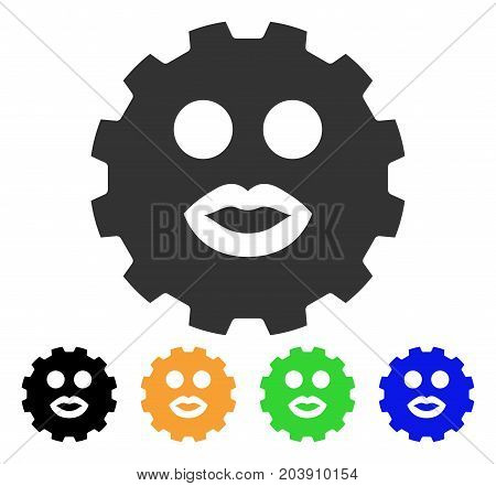 Kiss Smiley Gear icon. Vector illustration style is a flat iconic kiss smiley gear symbol with black, gray, green, blue, yellow color variants. Designed for web and software interfaces.