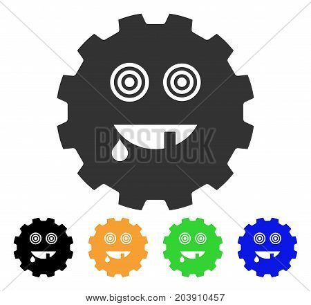 Maniac Smiley Gear icon. Vector illustration style is a flat iconic maniac smiley gear symbol with black, gray, green, blue, yellow color versions. Designed for web and software interfaces.