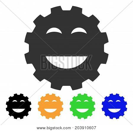 Pleasure Smiley Gear icon. Vector illustration style is a flat iconic pleasure smiley gear symbol with black, grey, green, blue, yellow color variants. Designed for web and software interfaces.