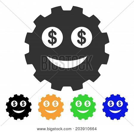 Rich Smiley Gear icon. Vector illustration style is a flat iconic rich smiley gear symbol with black, gray, green, blue, yellow color variants. Designed for web and software interfaces.