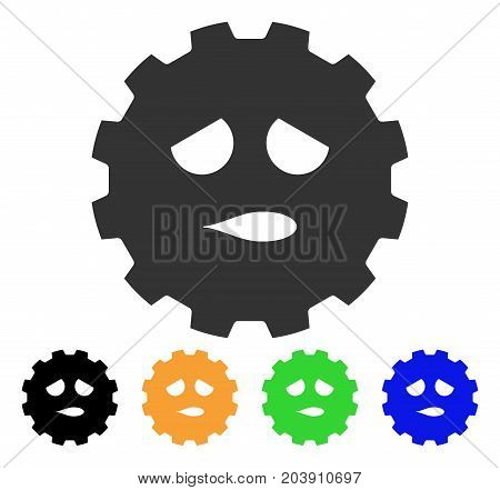 Sad Face Smiley Gear icon. Vector illustration style is a flat iconic sad face smiley gear symbol with black, gray, green, blue, yellow color versions. Designed for web and software interfaces.
