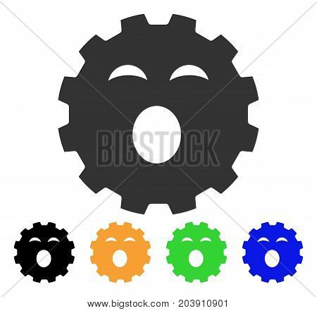 Sleepy Smiley Gear icon. Vector illustration style is a flat iconic sleepy smiley gear symbol with black, grey, green, blue, yellow color variants. Designed for web and software interfaces.