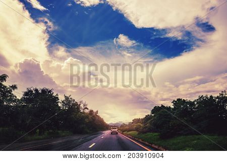 Landscape road paved road Rural Roadside View Mountain View. Road transport road. Car running on the street