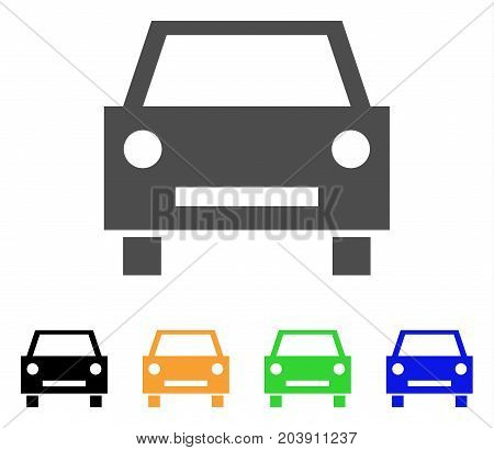 Car icon. Vector illustration style is a flat iconic car symbol with black, gray, green, blue, yellow color variants. Designed for web and software interfaces.
