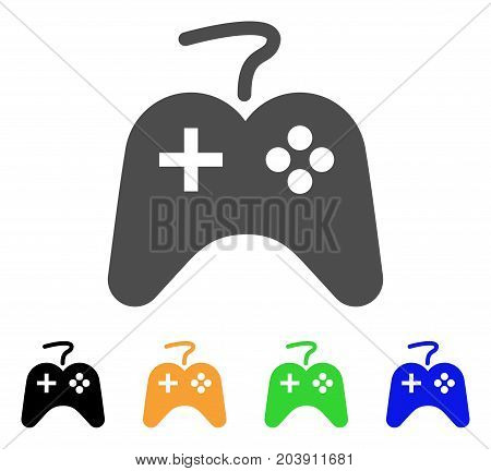 Game Pad icon. Vector illustration style is a flat iconic game pad symbol with black, grey, green, blue, yellow color versions. Designed for web and software interfaces.