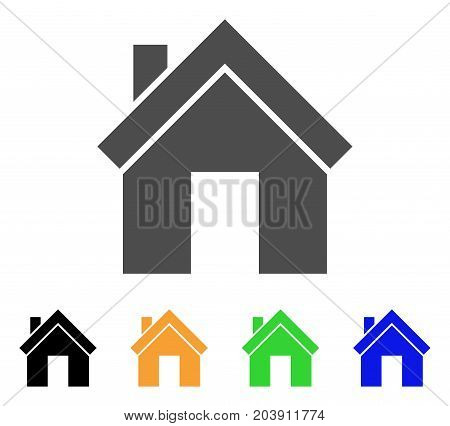 Home icon. Vector illustration style is a flat iconic home symbol with black, gray, green, blue, yellow color variants. Designed for web and software interfaces.
