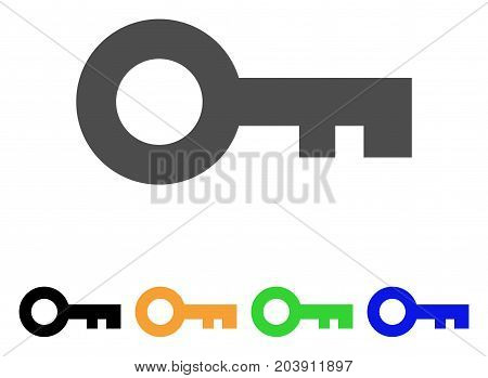 Key icon. Vector illustration style is a flat iconic key symbol with black, gray, green, blue, yellow color versions. Designed for web and software interfaces.