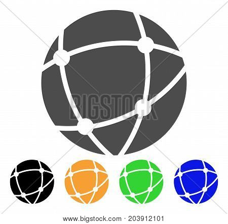 Network Sphere icon. Vector illustration style is a flat iconic network sphere symbol with black, grey, green, blue, yellow color versions. Designed for web and software interfaces.