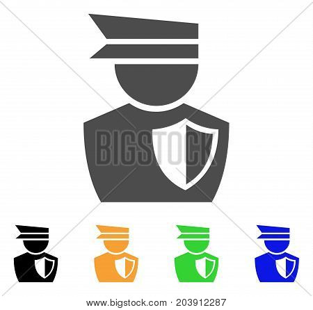 Police Officer icon. Vector illustration style is a flat iconic police officer symbol with black, gray, green, blue, yellow color versions. Designed for web and software interfaces.