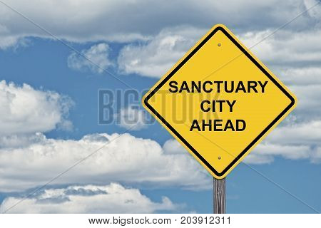 Caution Sign Blue Sky Background - Sanctuary City Ahead