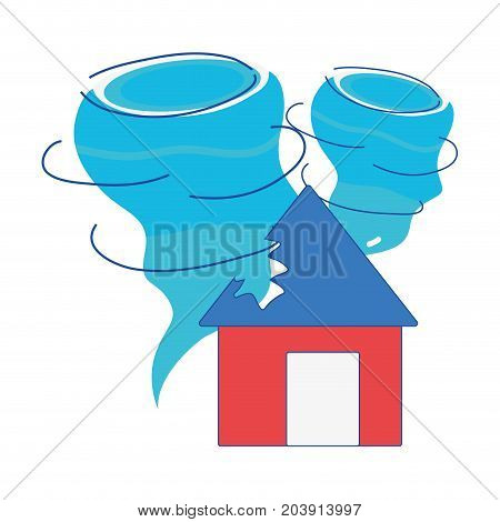 house with tornado storm disaster weather vector illustration