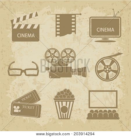 cinematic theme in vintage style. Video icon cinema sign - vector illustration