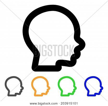 Boy Head icon. Vector illustration style is a flat linear iconic boy head symbol with black, grey, green, blue, yellow color versions. Designed for web and software interfaces.