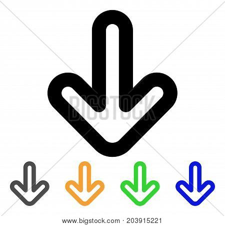 Down Arrow icon. Vector illustration style is a flat stroke iconic down arrow symbol with black, gray, green, blue, yellow color variants. Designed for web and software interfaces.