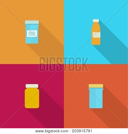 Set Pill bottle isolated icon on background. Pill bottle for capsules. Medical container. vector illustration.