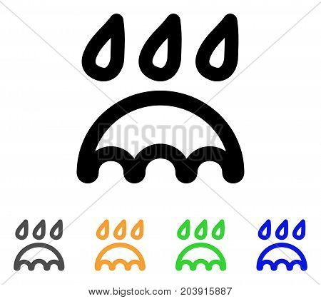 Rain Protection icon. Vector illustration style is a flat linear iconic rain protection symbol with black, grey, green, blue, yellow color variants. Designed for web and software interfaces.