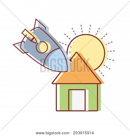 sun and rocket crashed with the roof house vector illustration