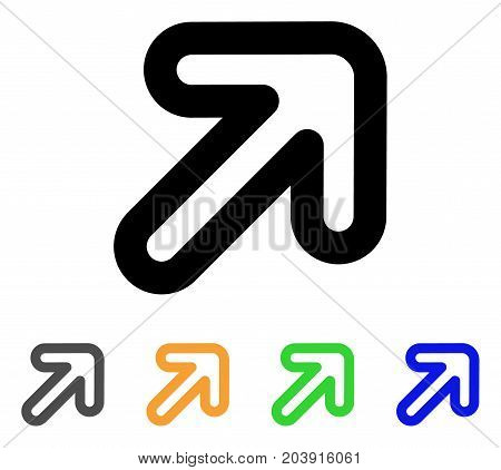 Right-Up Arrow icon. Vector illustration style is a flat contour iconic right-up arrow symbol with black, gray, green, blue, yellow color versions. Designed for web and software interfaces.