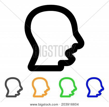 Yawning Head icon. Vector illustration style is a flat contour iconic yawning head symbol with black, gray, green, blue, yellow color variants. Designed for web and software interfaces.