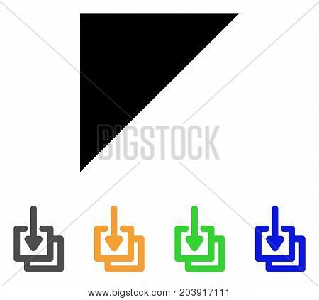 Downloads icon. Vector illustration style is a flat contour iconic downloads symbol with black, gray, green, blue, yellow color variants. Designed for web and software interfaces.