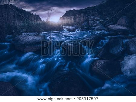 Magestic Moonrise In A Deep Canyon