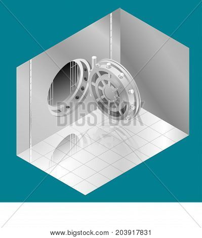 Open Bank Vault Door. Isometric vector illustration. Can be used for workflow layout, game, diagram, number options, web design and infographics