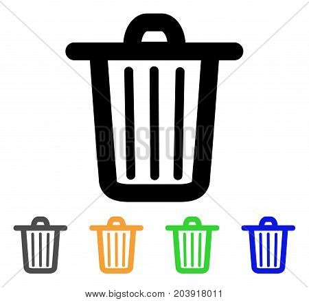 Trash Can icon. Vector illustration style is a flat stroke iconic trash can symbol with black, gray, green, blue, yellow color versions. Designed for web and software interfaces.