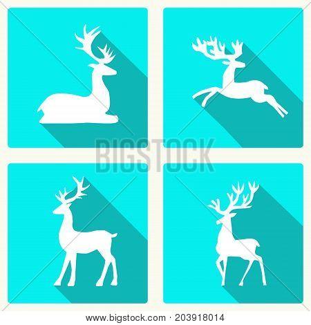 set of silhouette deer vector illustration of the deer flat deer icon