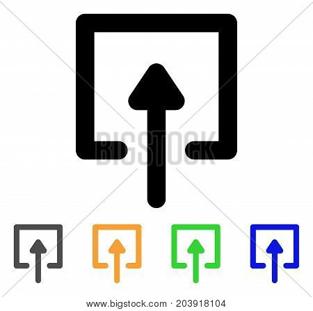Upload icon. Vector illustration style is a flat linear iconic upload symbol with black, grey, green, blue, yellow color variants. Designed for web and software interfaces.