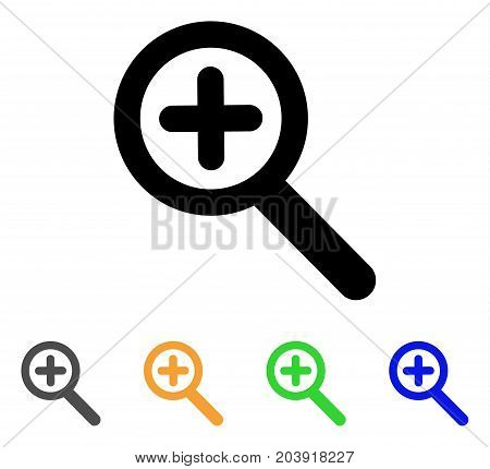 Zoom In icon. Vector illustration style is a flat stroke iconic zoom in symbol with black, grey, green, blue, yellow color variants. Designed for web and software interfaces.