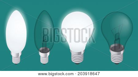 Turning on and off a light bulb. Set of Realistic Incandescent Light Bulb vector illustration.