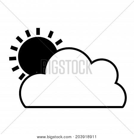 contour nice cloud with sun tropical weather vector illustration