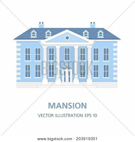 Villa in a classic style. Historical mansion. Old big house. The property. Vector Fruit Illustration