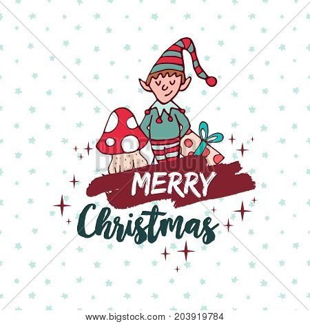 Christmas Cute Santa Helper Elf Holiday Cartoon