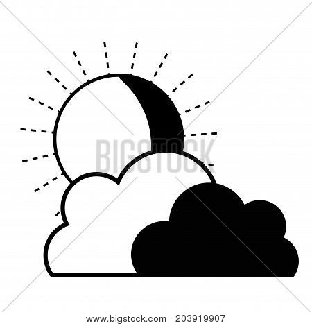contour nice clouds with sun tropical weather vector illustration