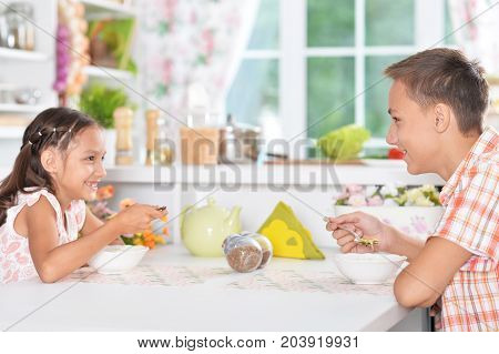Smiling brother and sister sitting at kitchen table and having breakfast together