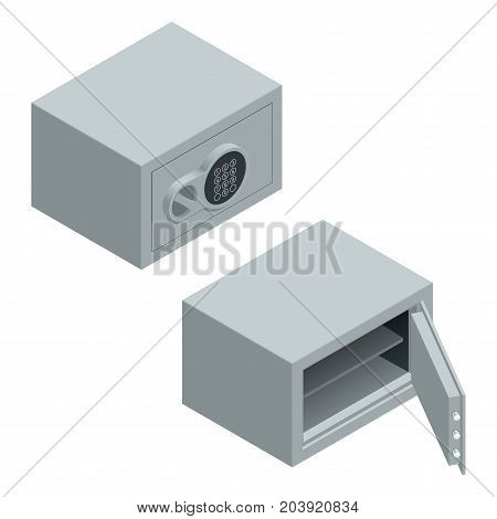 Isometric vector Open and closed metal bank security safe with dial code lock isolated on white background.