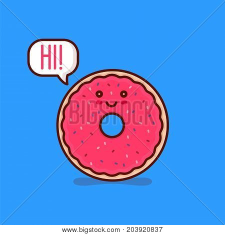 Cute happy smiling tasty pink donut say hi! in speach bubble. Vector modern line outline flat style cartoon character illustration. Isolated on blue background.Concept creative card for cafe