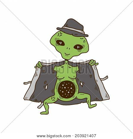 Alien in a hat and coat show cosmos space in a stomach