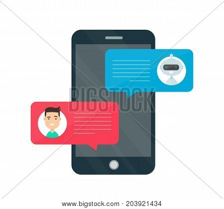 Man person chatting on cellphone with chat bot robot. Vector modern style cartoon character illustration avatar icon design. Chat messages notification on smartphone. Isolated on white background