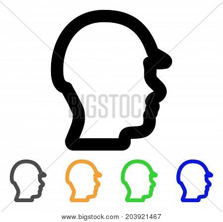 Builder Head icon. Vector illustration style is a flat stroke iconic builder head symbol with black, gray, green, blue, yellow color versions. Designed for web and software interfaces.