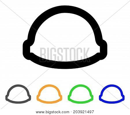 Builder Helmet icon. Vector illustration style is a flat line iconic builder helmet symbol with black, gray, green, blue, yellow color versions. Designed for web and software interfaces.