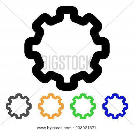 Cogwheel icon. Vector illustration style is a flat line iconic cogwheel symbol with black, gray, green, blue, yellow color versions. Designed for web and software interfaces.