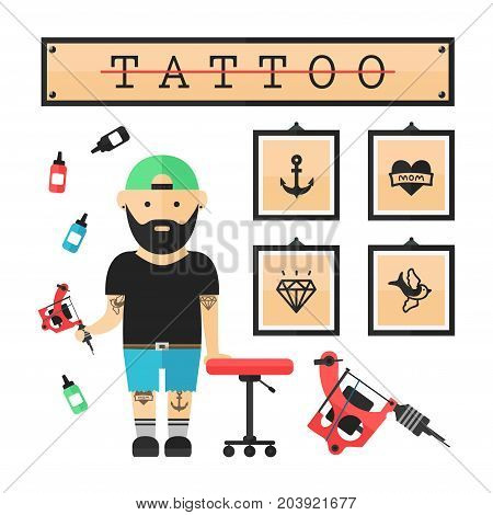 Tattoo artist  master in salon. Vector modern flat style cartoon character illustration. Isolated on white background. Tattoo concept. Anchor, heart, diamond, swallow